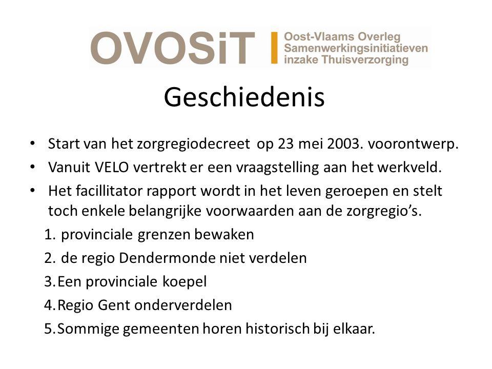 Geschiedenis Start van het zorgregiodecreet op 23 mei 2003. voorontwerp. Vanuit VELO vertrekt er een vraagstelling aan het werkveld.