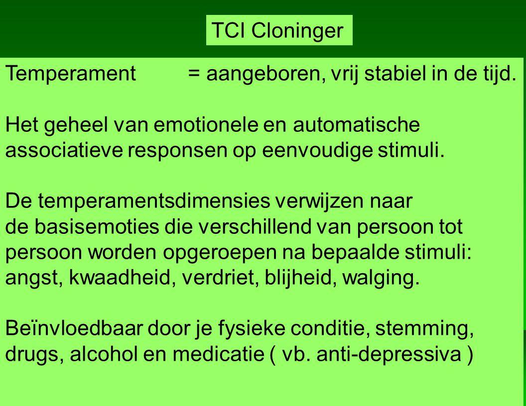 TCI Cloninger Temperament = aangeboren, vrij stabiel in de tijd. Het geheel van emotionele en automatische.