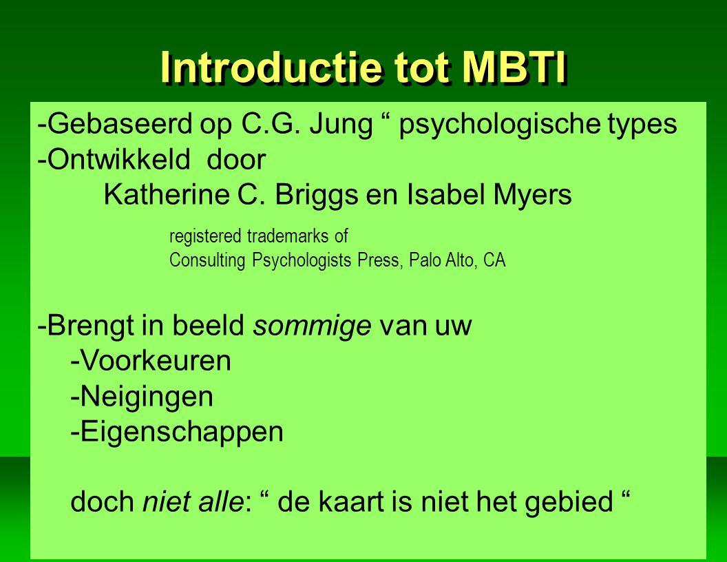Introductie tot MBTI Gebaseerd op C.G. Jung psychologische types