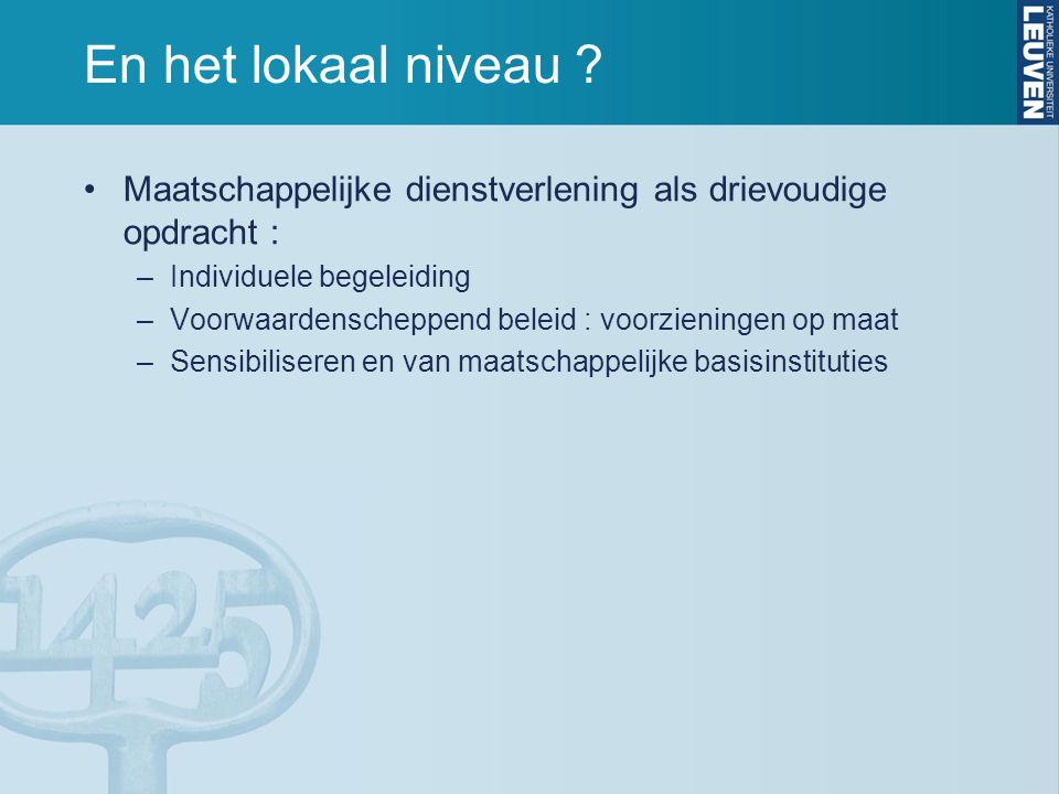 En het lokaal niveau Maatschappelijke dienstverlening als drievoudige opdracht : Individuele begeleiding.