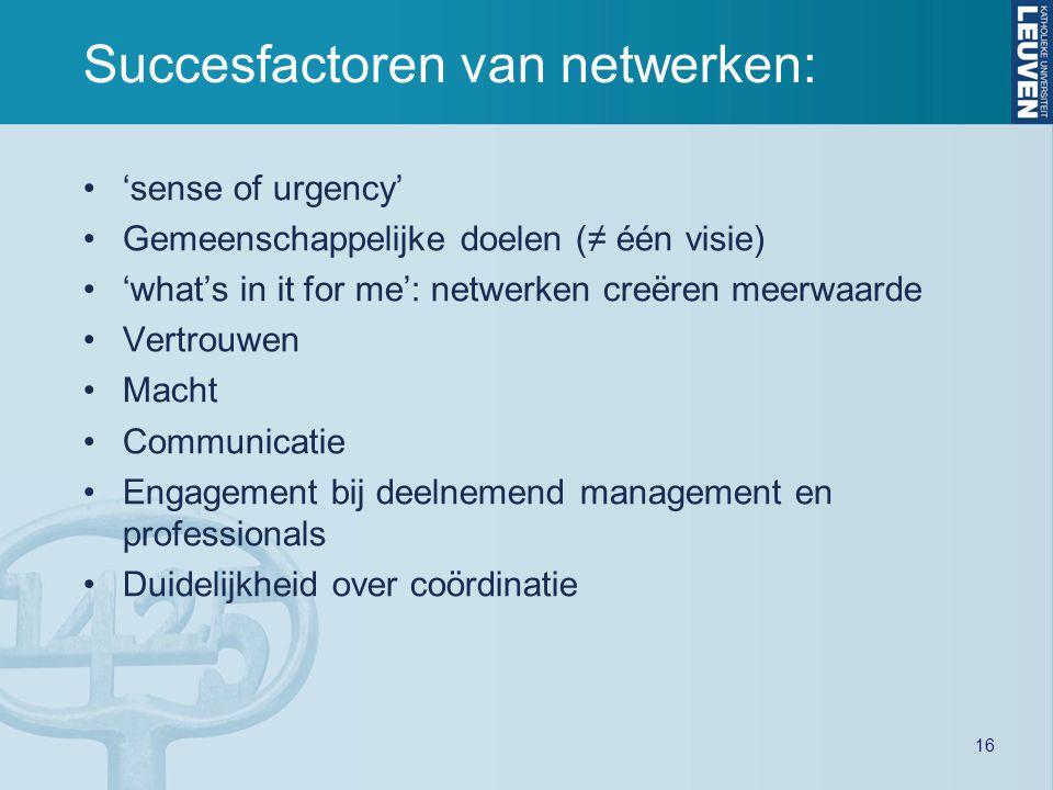 Succesfactoren van netwerken:
