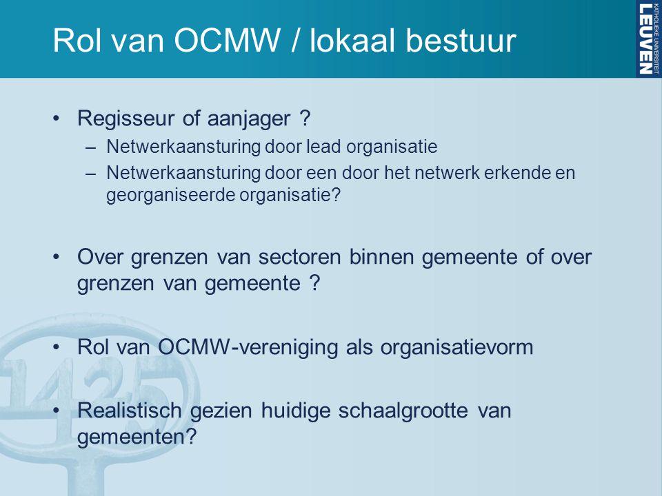 Rol van OCMW / lokaal bestuur