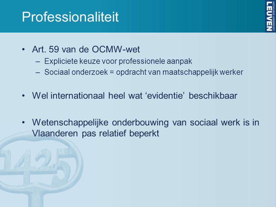 Professionaliteit Art. 59 van de OCMW-wet