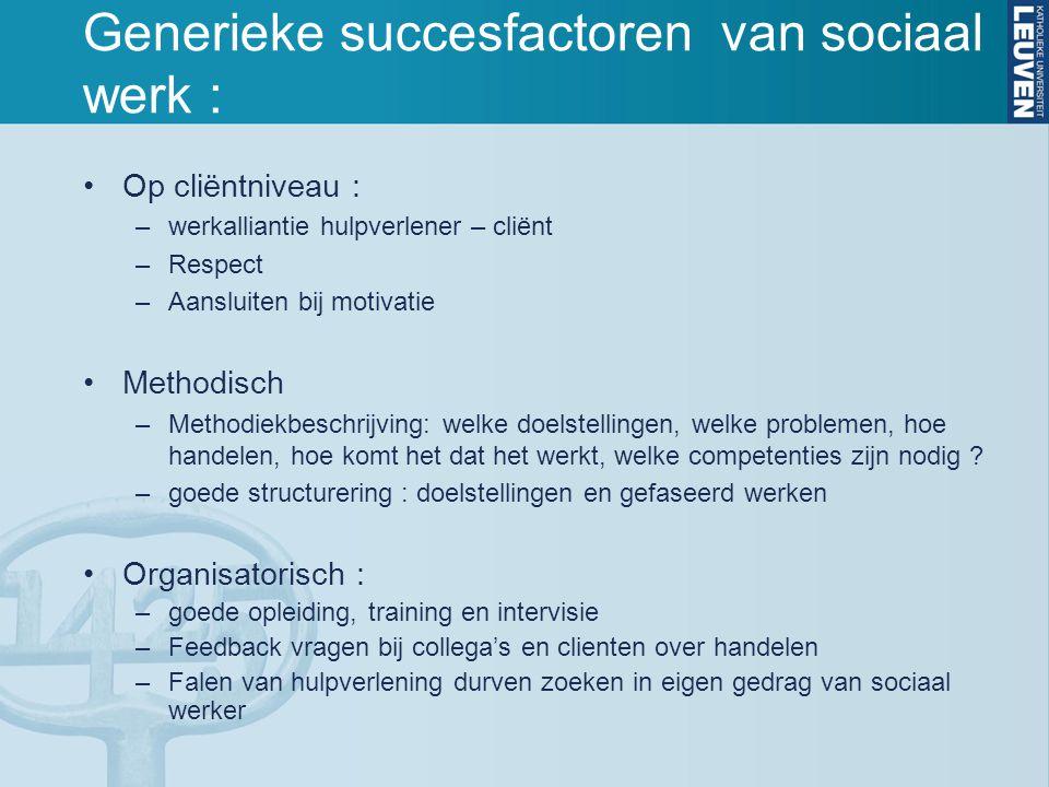 Generieke succesfactoren van sociaal werk :