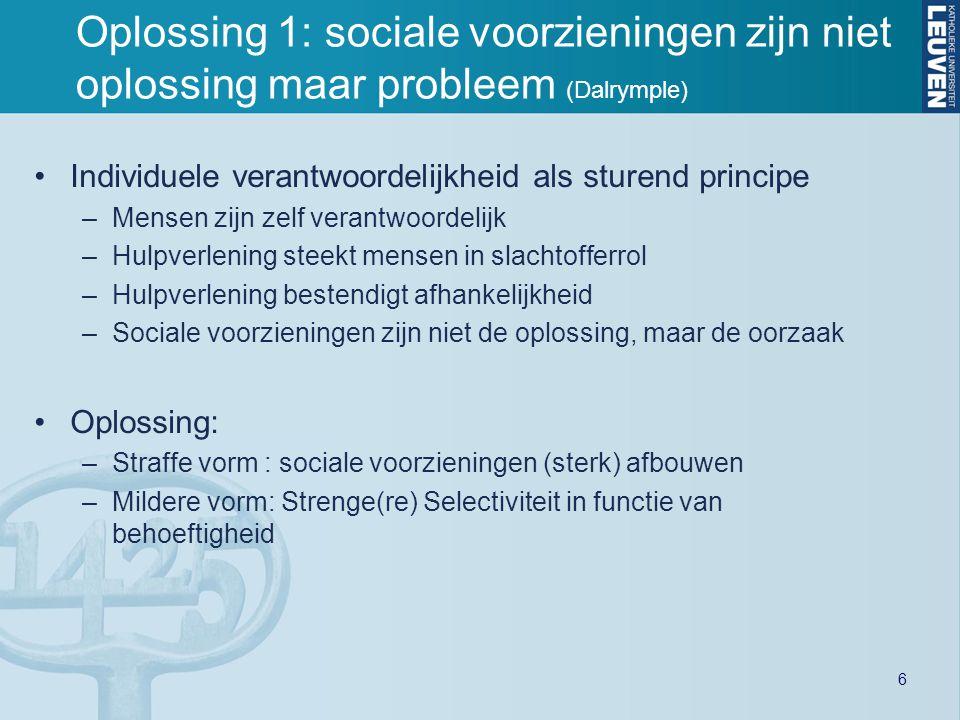 Oplossing 1: sociale voorzieningen zijn niet oplossing maar probleem (Dalrymple)