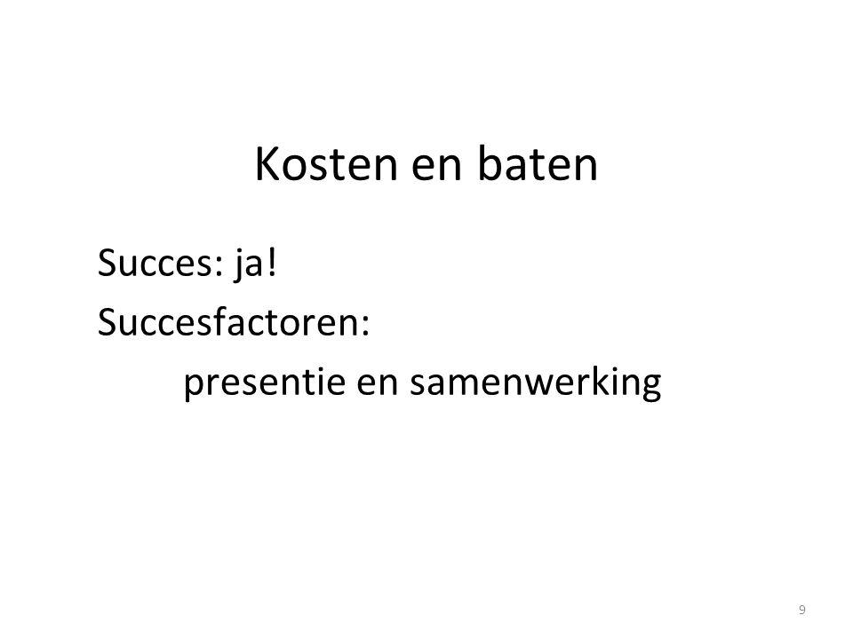 Kosten en baten Succes: ja! Succesfactoren: presentie en samenwerking