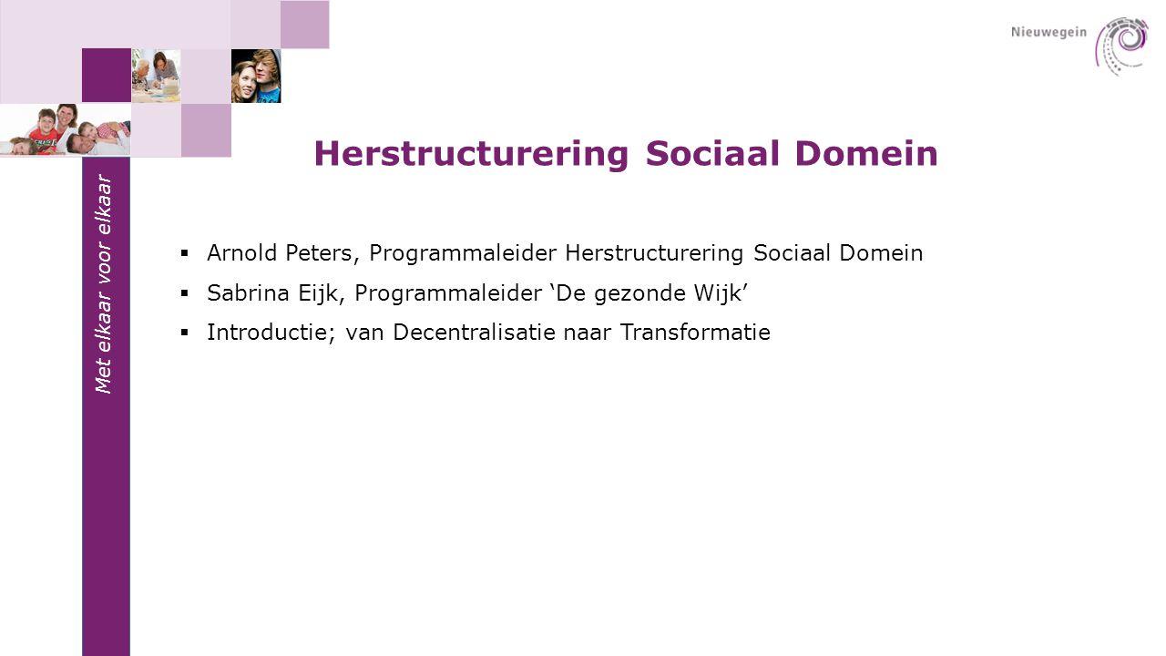 Herstructurering Sociaal Domein