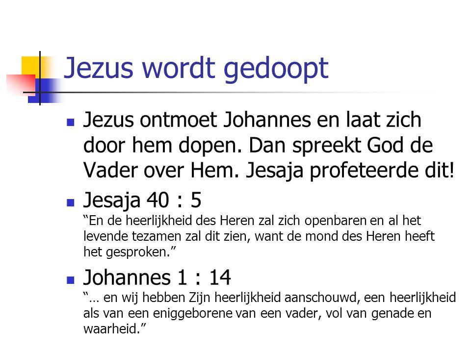 Jezus wordt gedoopt Jezus ontmoet Johannes en laat zich door hem dopen. Dan spreekt God de Vader over Hem. Jesaja profeteerde dit!