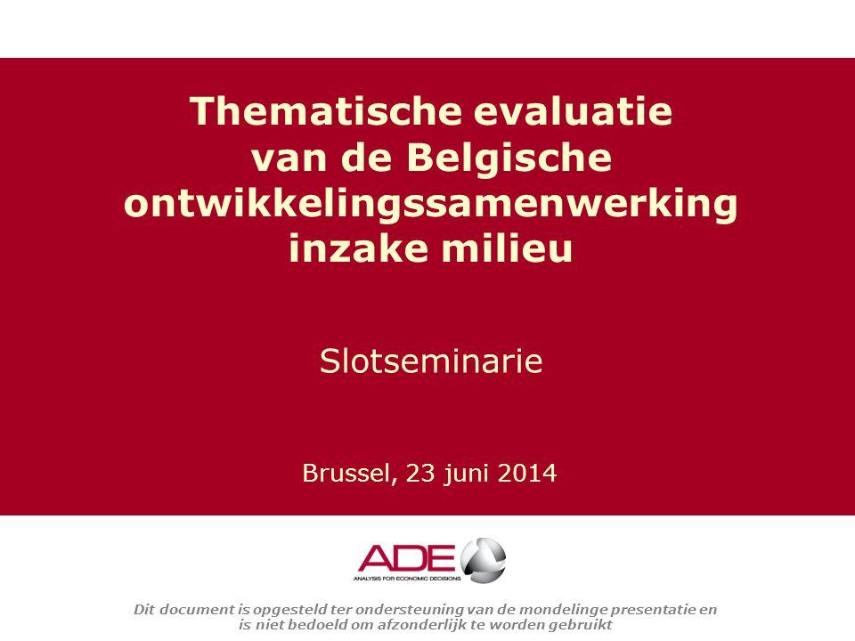 Thematische evaluatie van de Belgische ontwikkelingssamenwerking