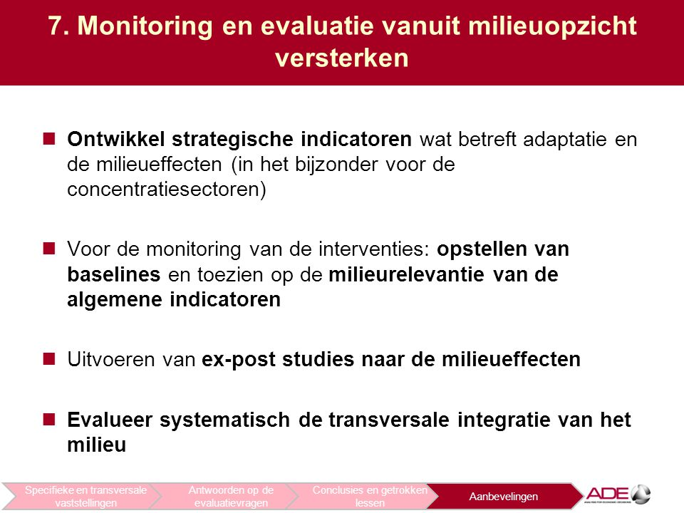 7. Monitoring en evaluatie vanuit milieuopzicht versterken