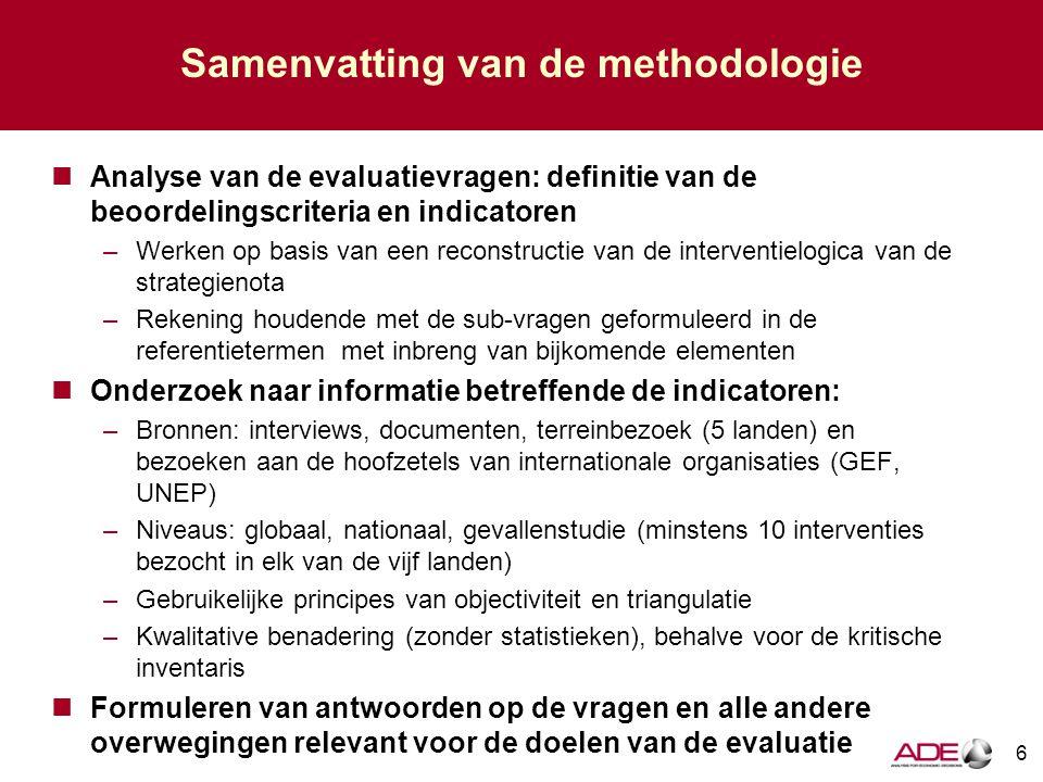 Samenvatting van de methodologie