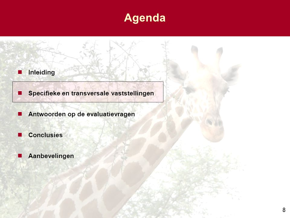 Agenda Inleiding Specifieke en transversale vaststellingen