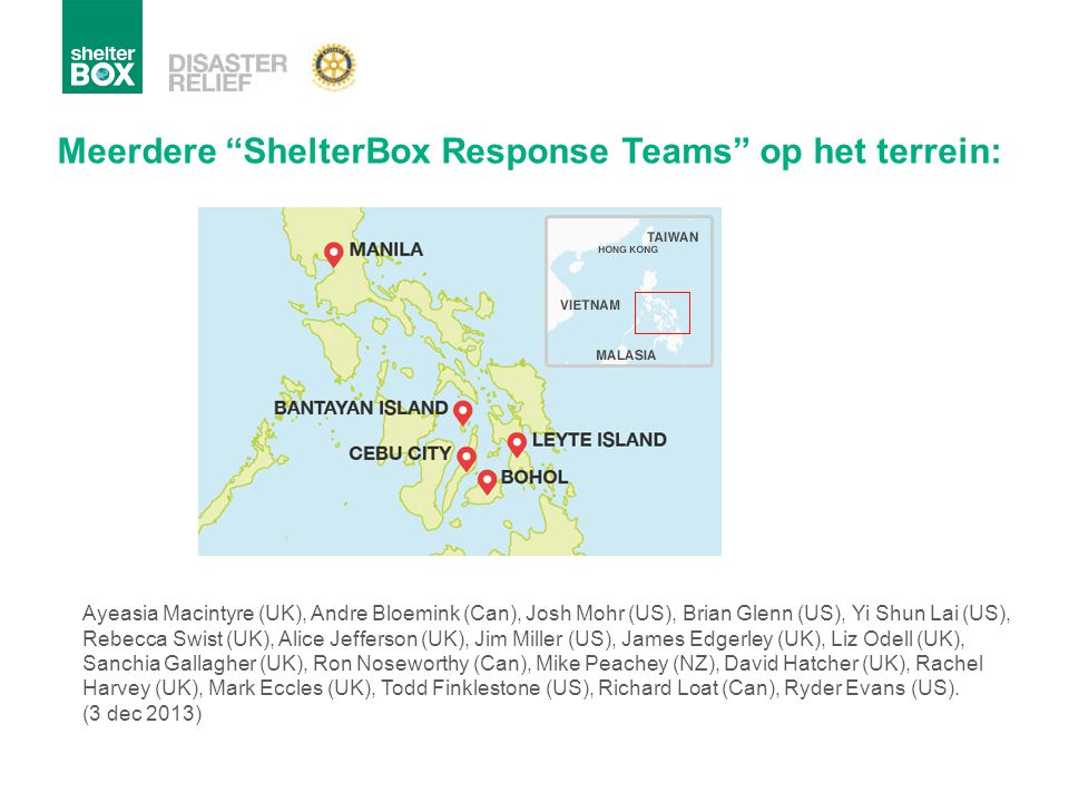 Meerdere ShelterBox Response Teams op het terrein: