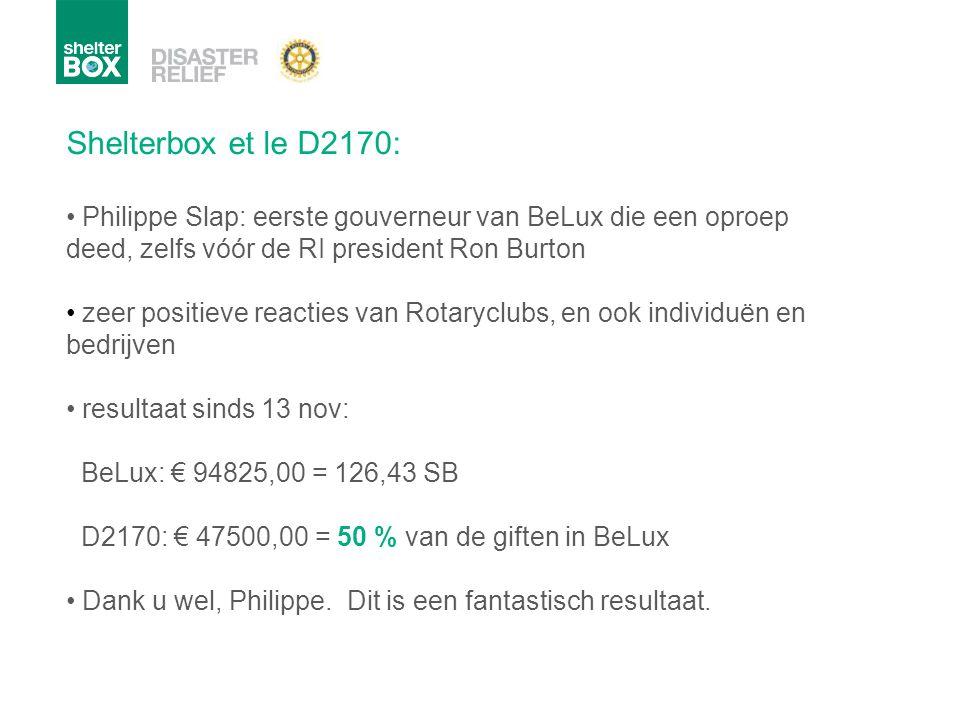 Shelterbox et le D2170: Philippe Slap: eerste gouverneur van BeLux die een oproep deed, zelfs vóór de RI president Ron Burton.