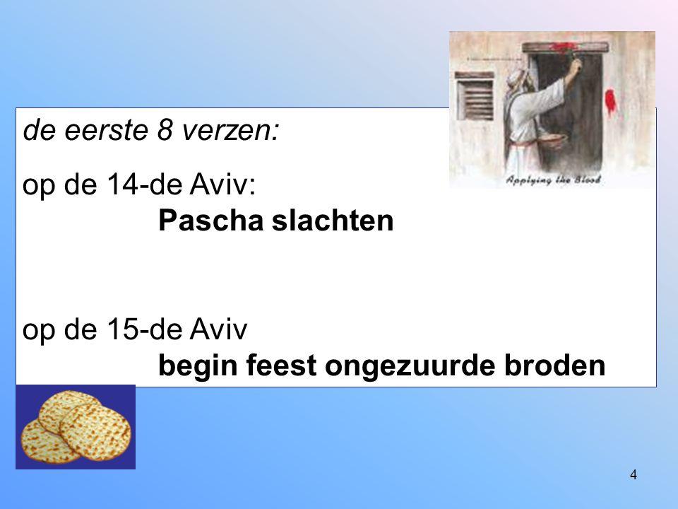 de eerste 8 verzen: op de 14-de Aviv: Pascha slachten.