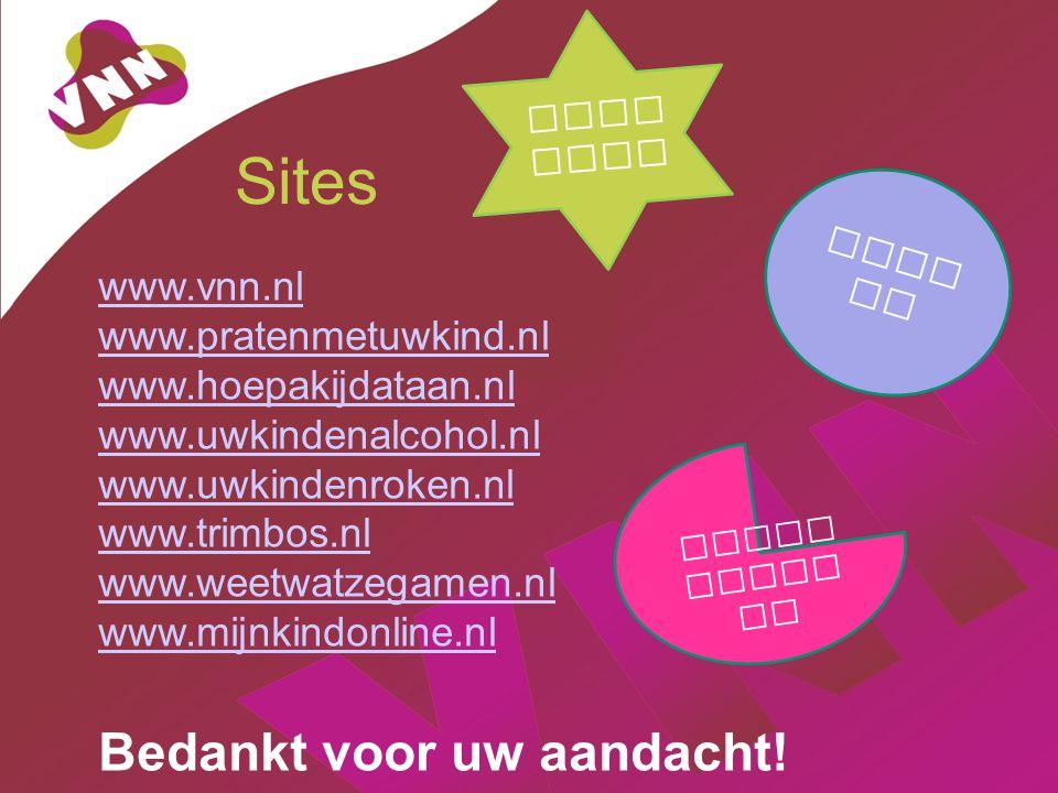 Sites Bedankt voor uw aandacht! www.vnn.nl www.pratenmetuwkind.nl