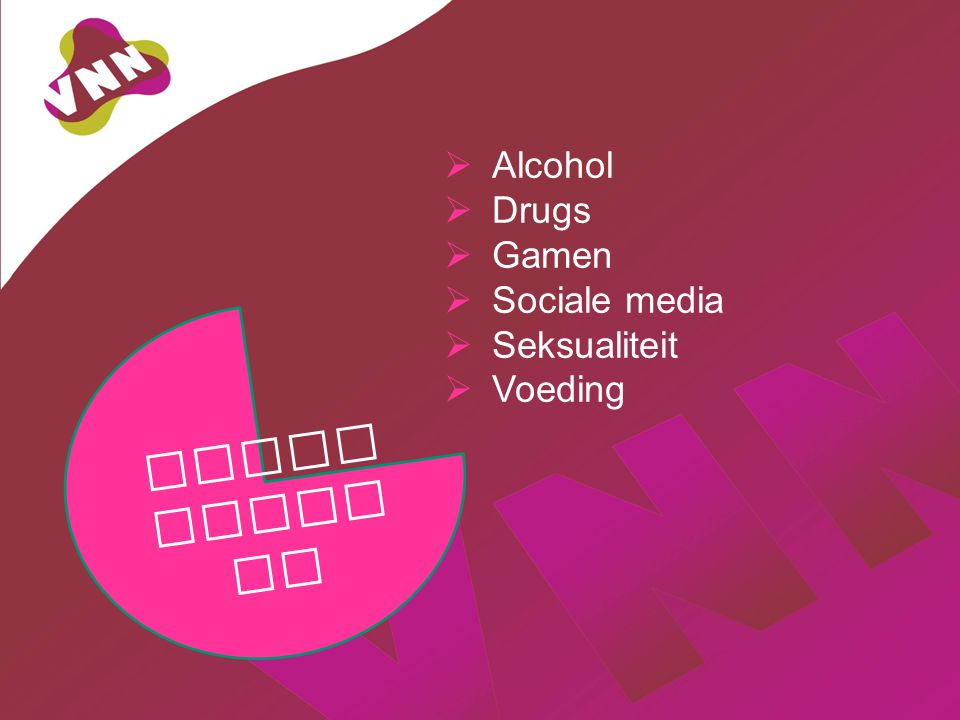 Alcohol Drugs Gamen Sociale media Seksualiteit Voeding Verleidingen
