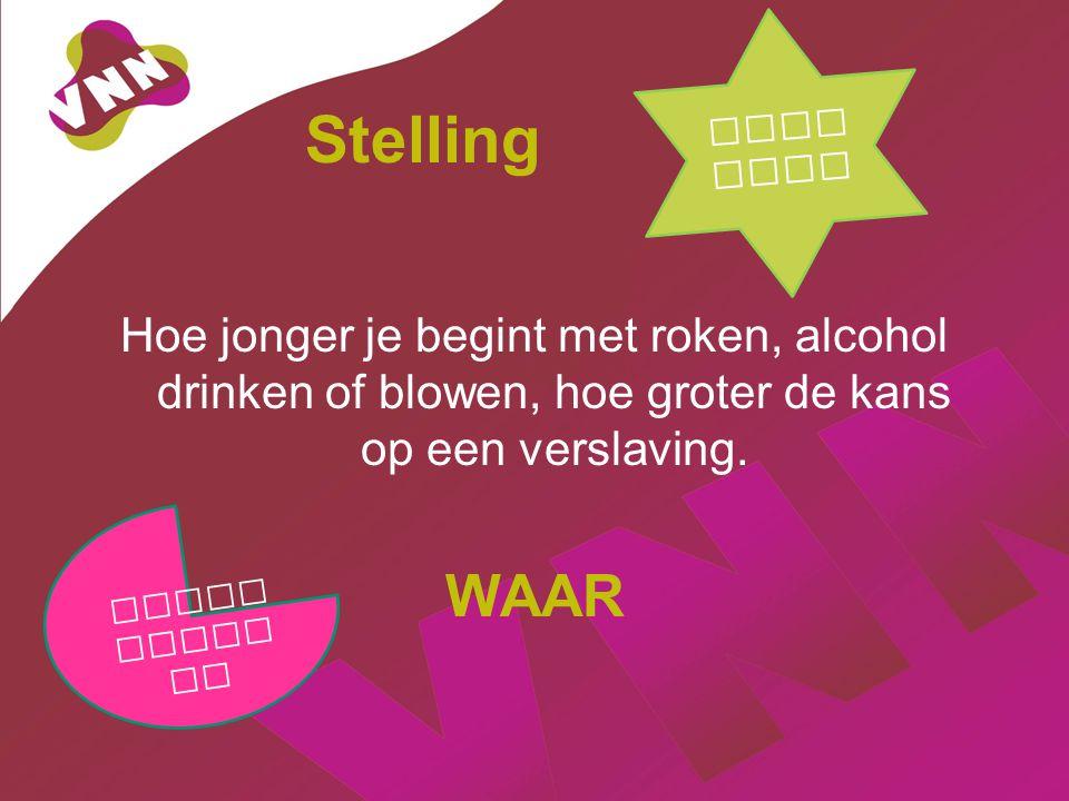 Jongeren Stelling. Hoe jonger je begint met roken, alcohol drinken of blowen, hoe groter de kans op een verslaving.