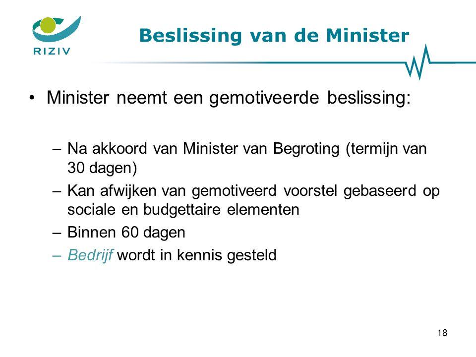 Beslissing van de Minister