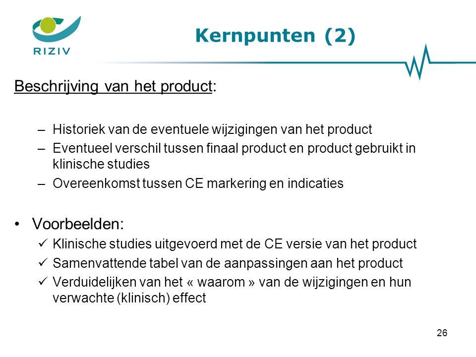 Kernpunten (2) Beschrijving van het product: Voorbeelden:
