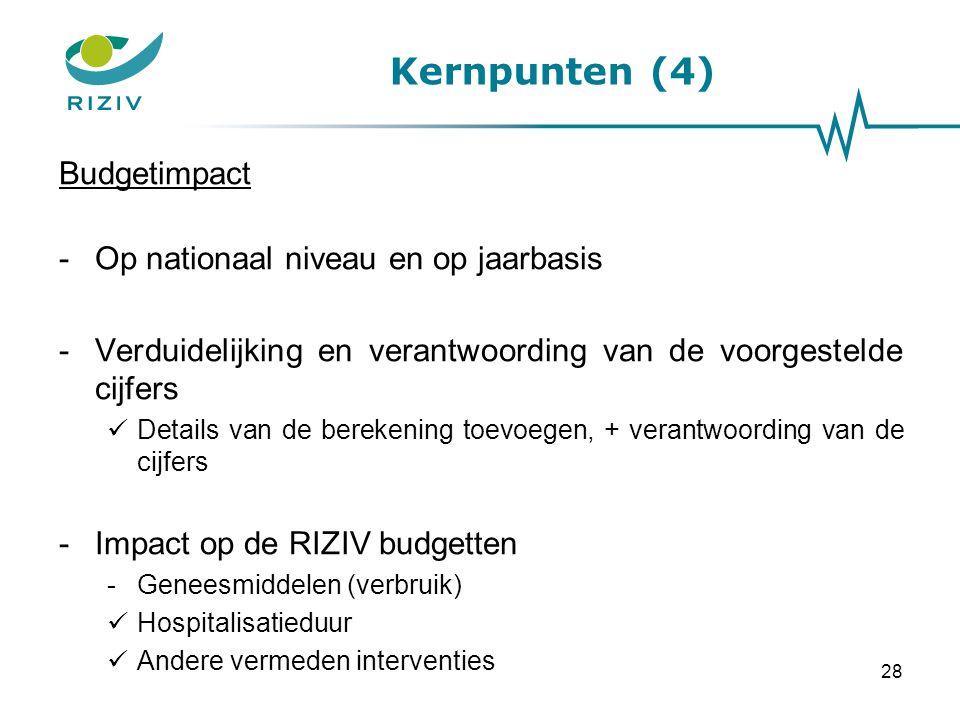 Kernpunten (4) Budgetimpact Op nationaal niveau en op jaarbasis