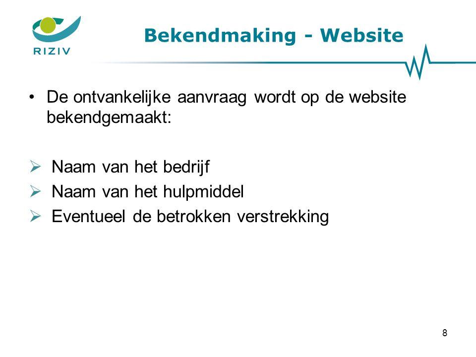 Bekendmaking - Website