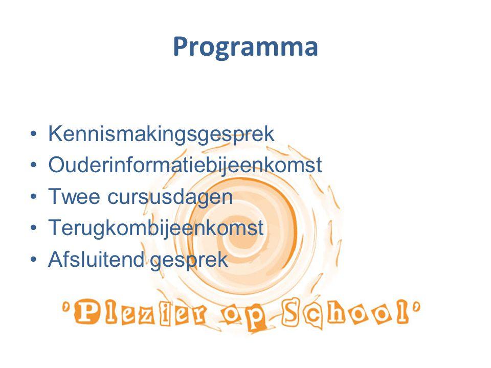 Programma Kennismakingsgesprek Ouderinformatiebijeenkomst