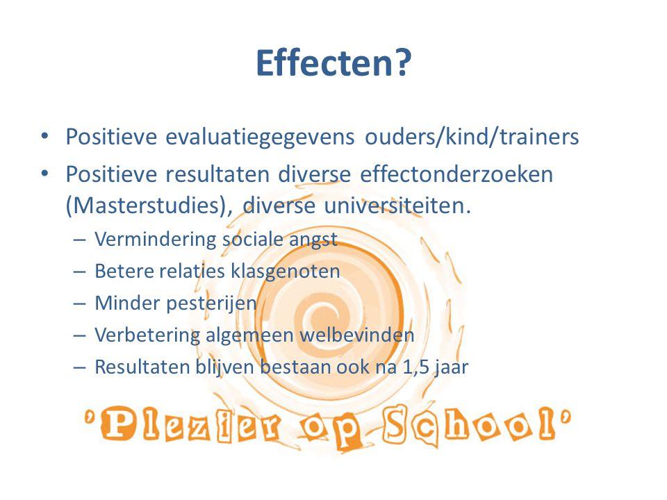 Effecten Positieve evaluatiegegevens ouders/kind/trainers