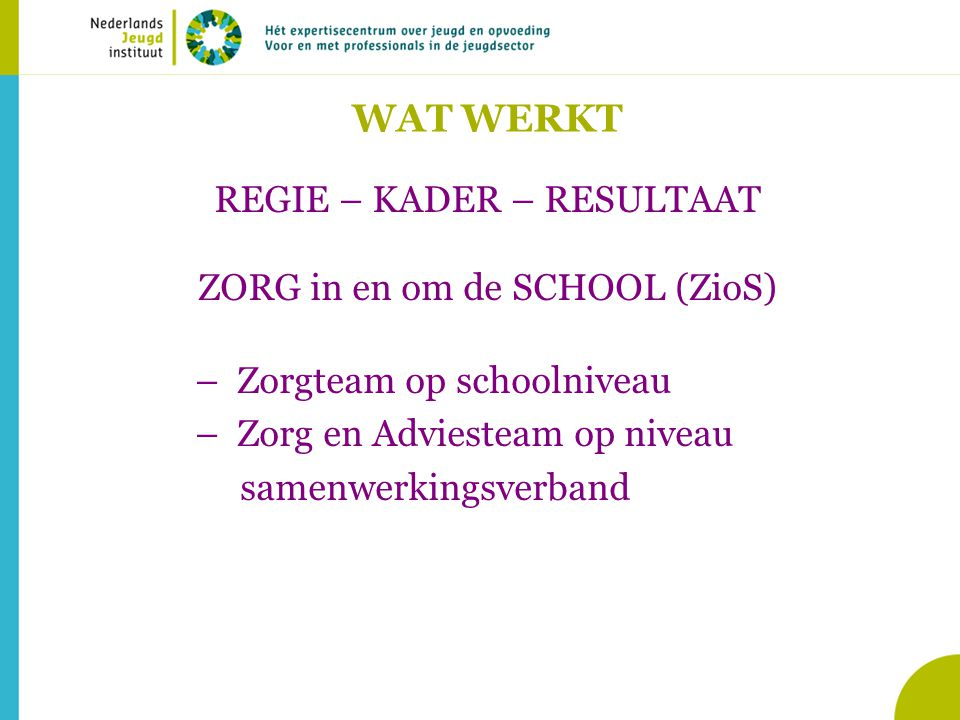 WAT WERKT REGIE – KADER – RESULTAAT ZORG in en om de SCHOOL (ZioS)