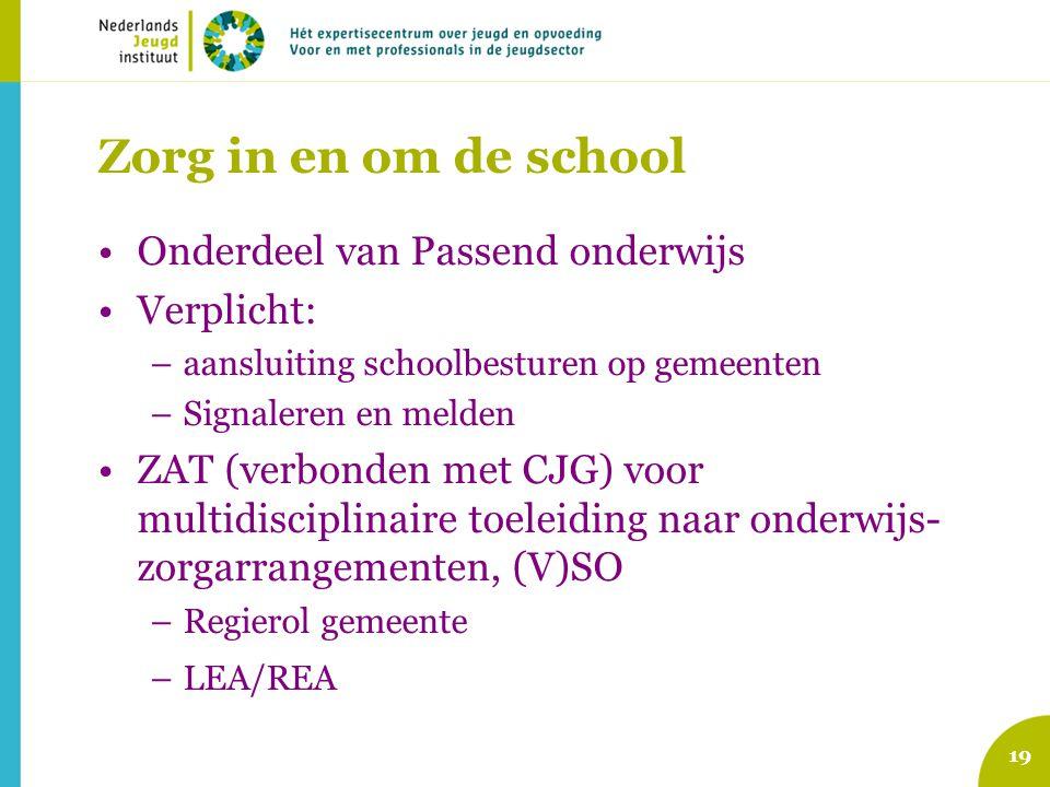Zorg in en om de school Onderdeel van Passend onderwijs Verplicht: