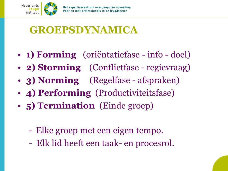 1) Forming (oriëntatiefase - info - doel)