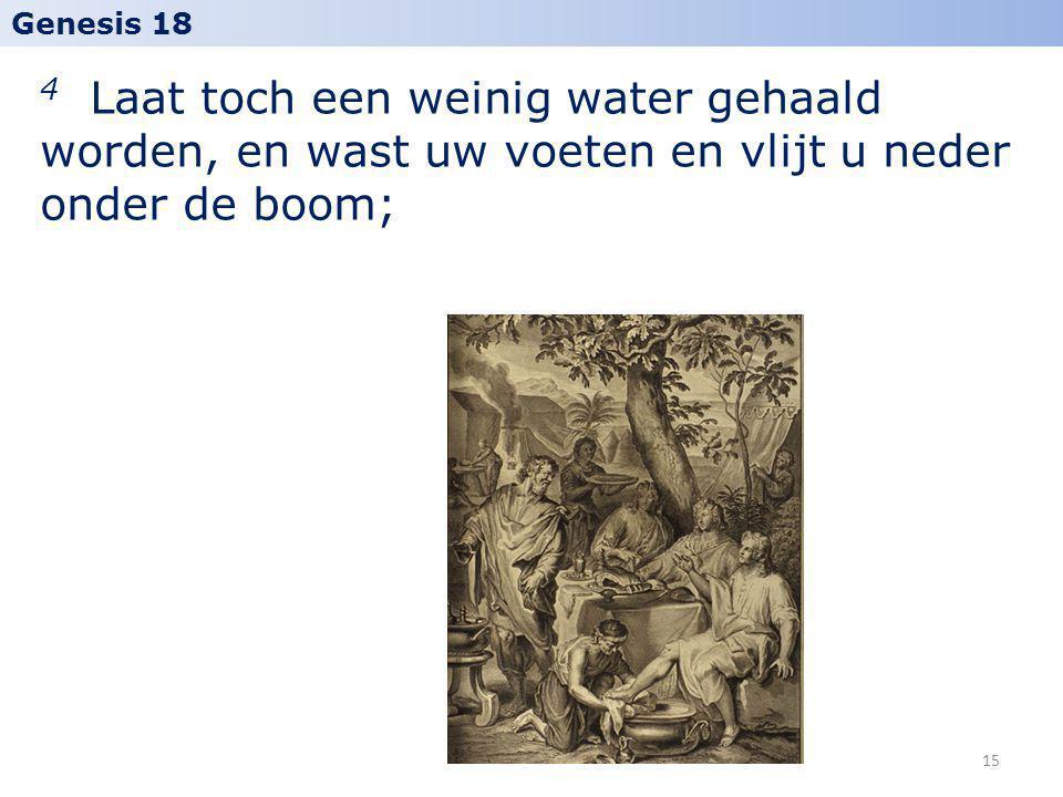 Genesis 18 4 Laat toch een weinig water gehaald worden, en wast uw voeten en vlijt u neder onder de boom;