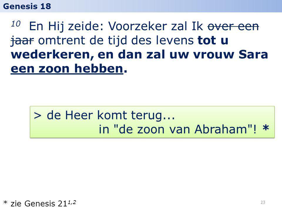 > de Heer komt terug... in de zoon van Abraham ! *