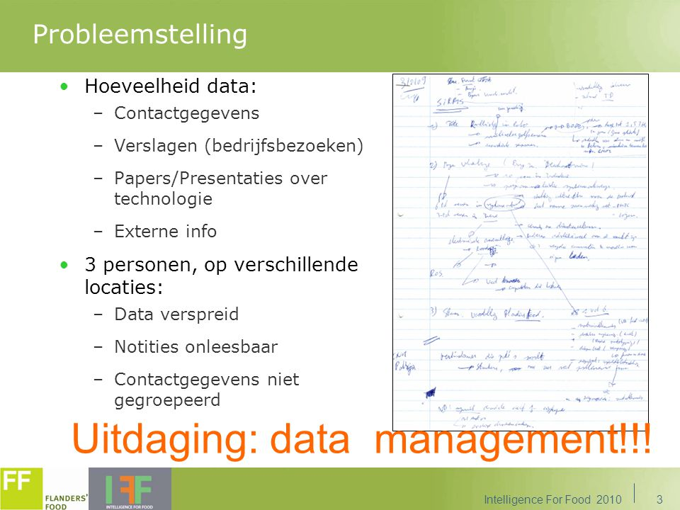 Uitdaging: data management!!!