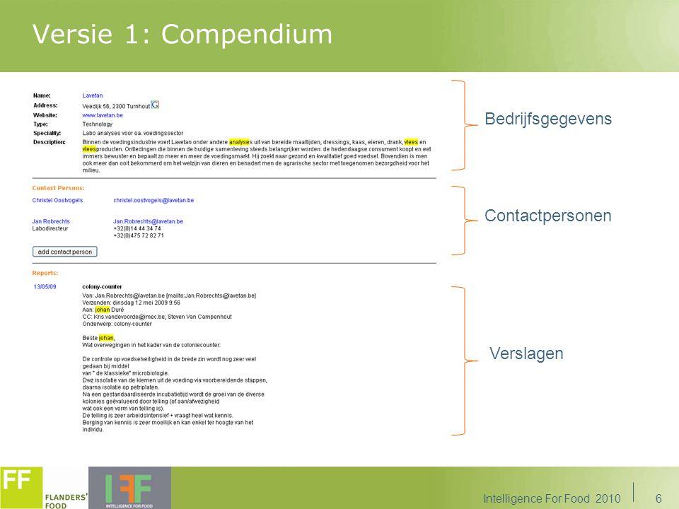 Versie 1: Compendium Bedrijfsgegevens Contactpersonen Verslagen