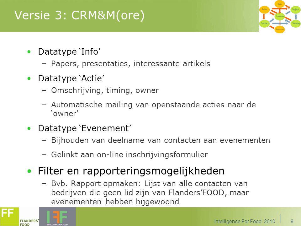 Versie 3: CRM&M(ore) Filter en rapporteringsmogelijkheden