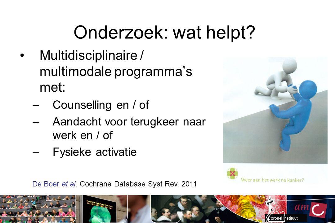 Onderzoek: wat helpt Multidisciplinaire / multimodale programma's met: Counselling en / of. Aandacht voor terugkeer naar werk en / of.