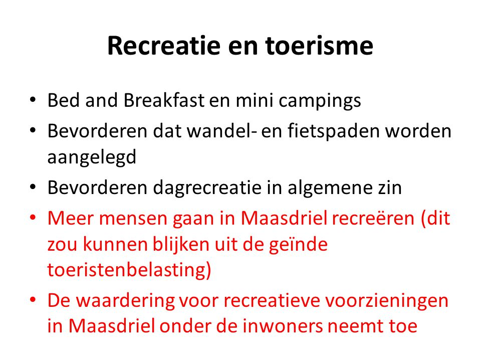 Recreatie en toerisme Bed and Breakfast en mini campings