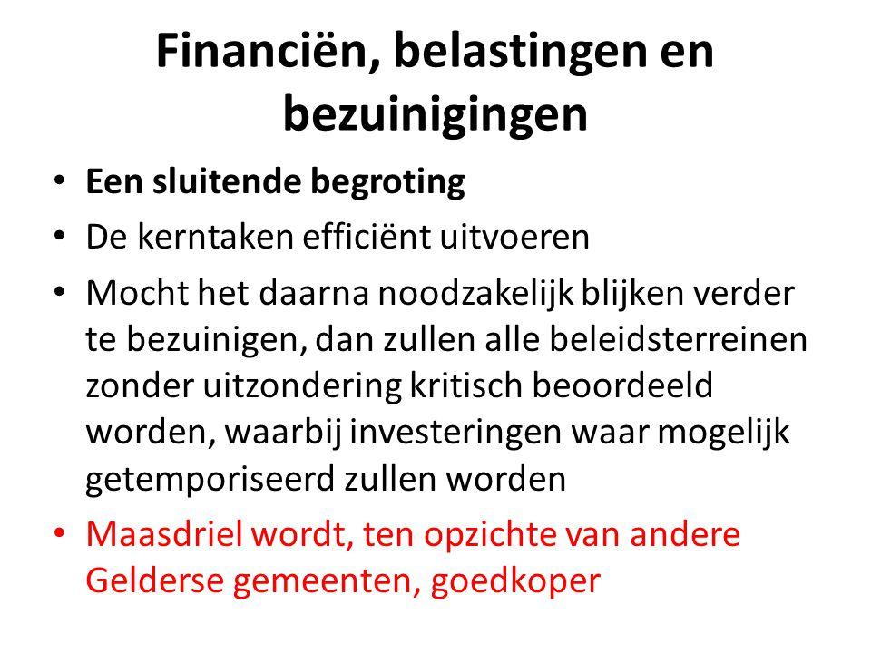 Financiën, belastingen en bezuinigingen