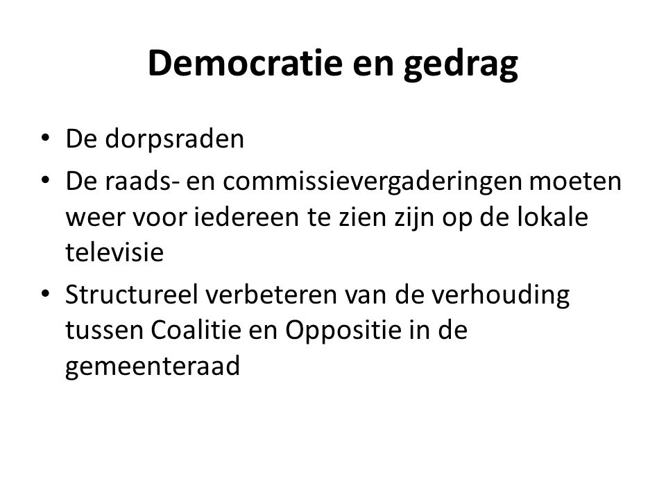 Democratie en gedrag De dorpsraden