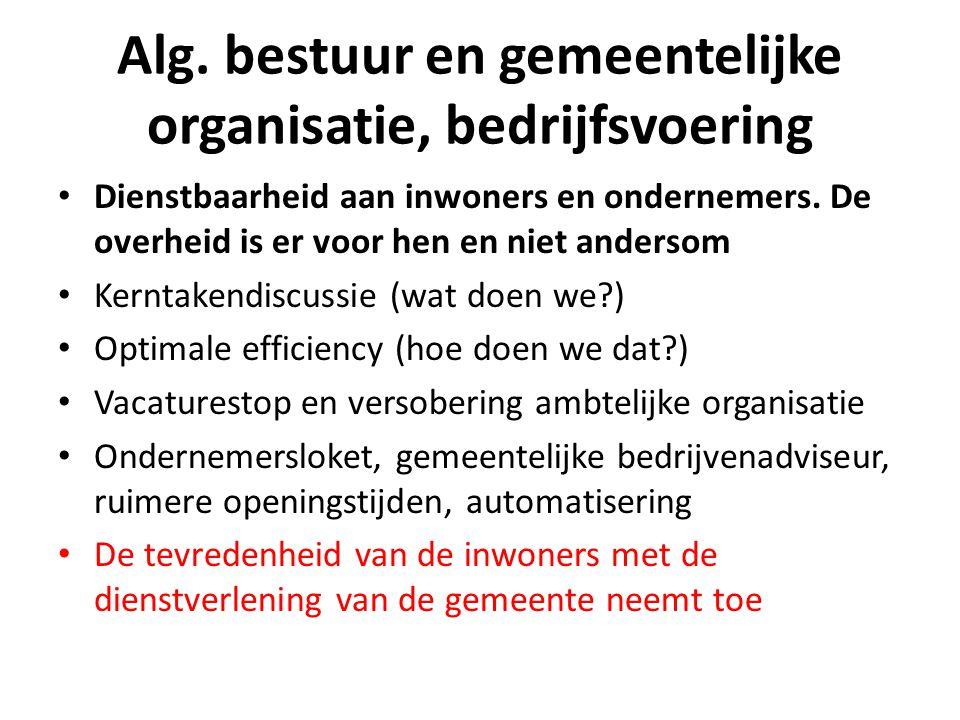 Alg. bestuur en gemeentelijke organisatie, bedrijfsvoering