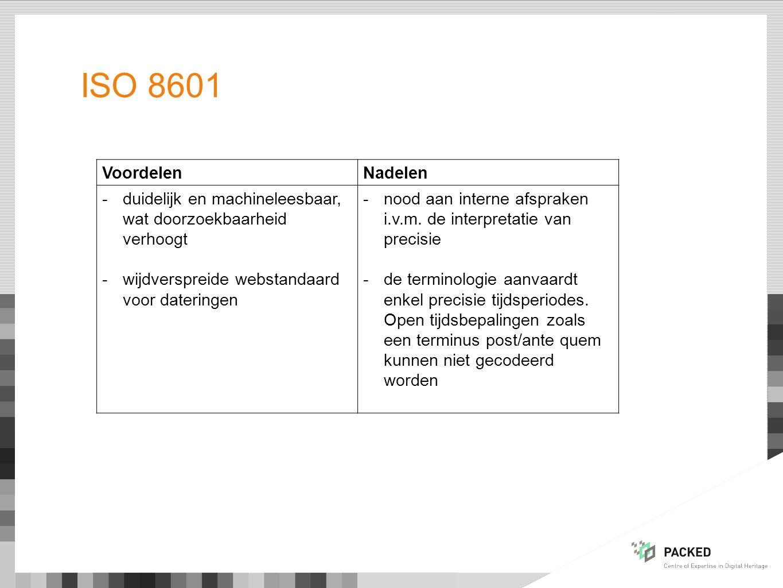 ISO 8601 Voordelen. Nadelen. duidelijk en machineleesbaar, wat doorzoekbaarheid verhoogt. wijdverspreide webstandaard voor dateringen.