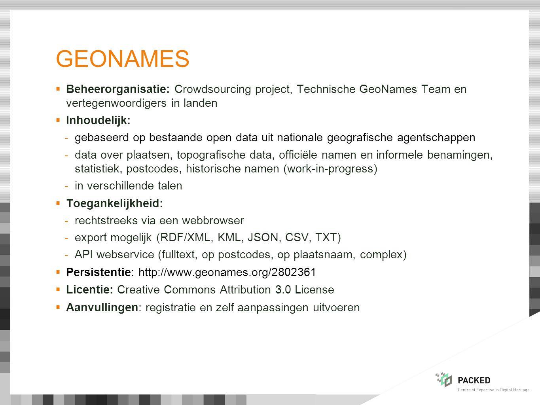 Geonames Beheerorganisatie: Crowdsourcing project, Technische GeoNames Team en vertegenwoordigers in landen.