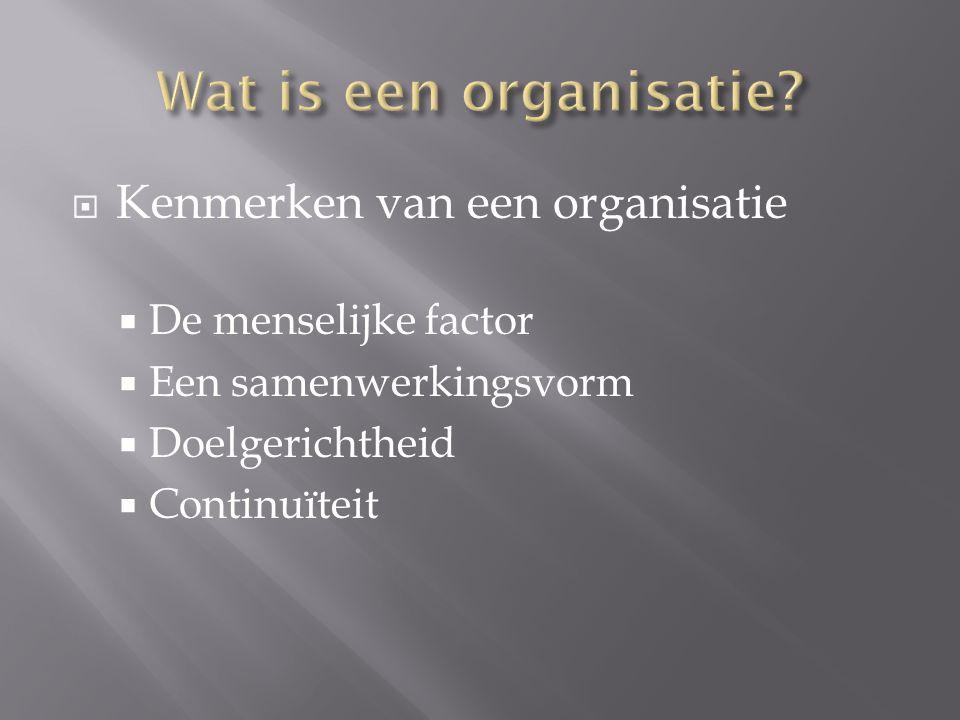 Wat is een organisatie Kenmerken van een organisatie