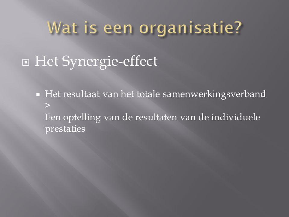 Wat is een organisatie Het Synergie-effect