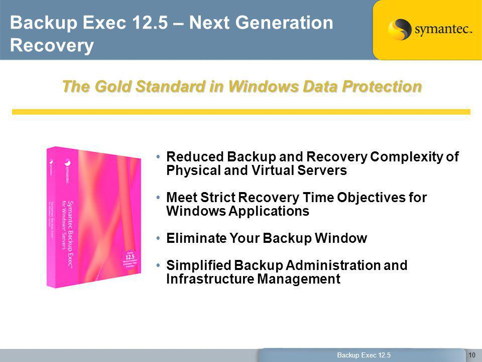 Backup Exec 12.5 – Next Generation Recovery