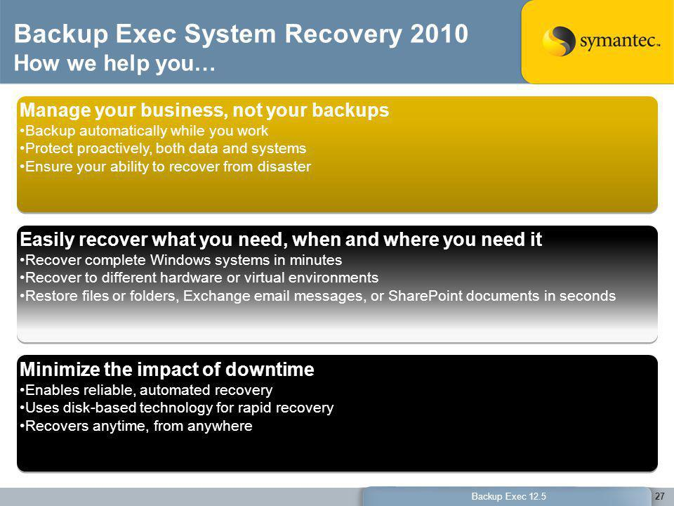 Backup Exec System Recovery 2010 How we help you…