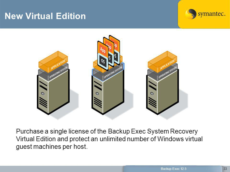 New Virtual Edition Provides a cost-savings for organizations protecting a virtual environment. Backup Exec System Recovery 2010 Virtual Edition.