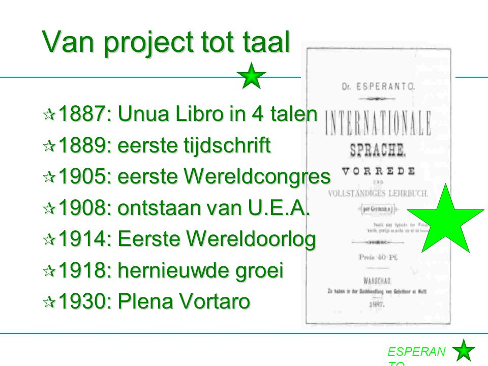 Van project tot taal 1887: Unua Libro in 4 talen