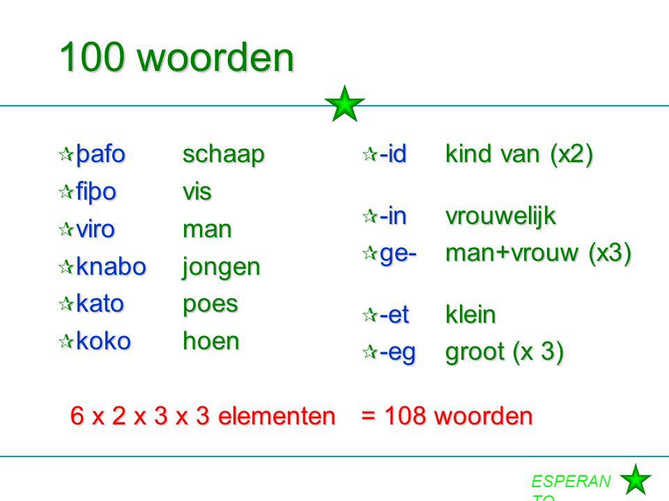 100 woorden þafo schaap fiþo vis viro man knabo jongen kato poes